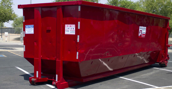 Red roll off dumpster in Phoenix