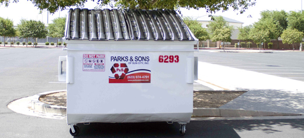 A container from Parks & Sons' dumpster rental service in Phoenix, AZ